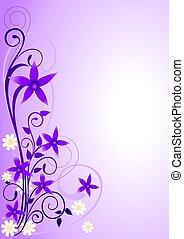 Violet Flowers Ornament - Illustration of violet flowers and...