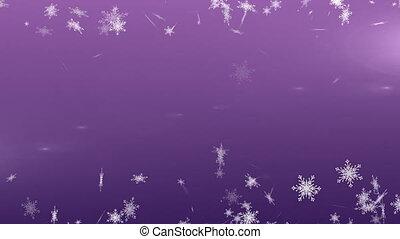 violet, fond, flocons neige, tomber, contre