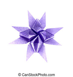 violet gift bow isolated on white background