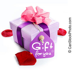 Gift Box - violet Gift Box with a card, a ribbon and the ...