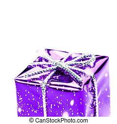 Violet gift box with silver ribbon, bow and snowflakes isolated on white macro. Christmas, Valentine's, Birthday gift box