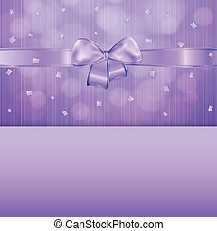 violet gift card with ribbon and confetti