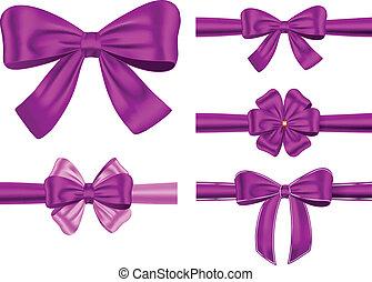 Violet gift ribbon set - Vector set of violet gift ribbons...