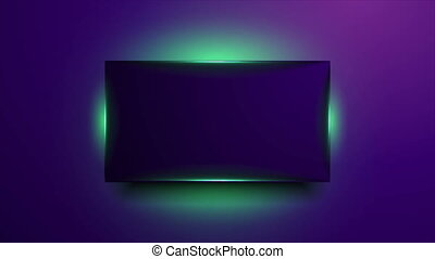 Violet glowing frame with green fluorescent neon light ...