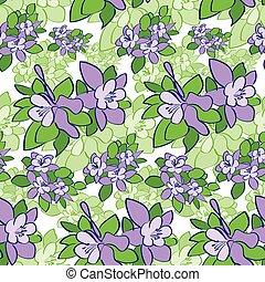 Violet Green Flower Seamless Pattern Vector