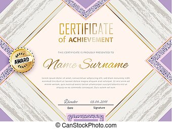 Violet grey grunge certificate template. Luxury violet with gold square for department cosmetic, parfume, stores, business