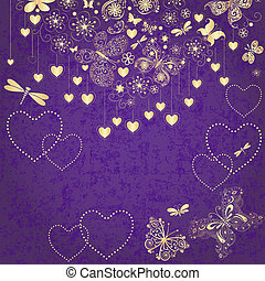 Violet grunge valentine frame with gold hearts and butterflies (vector)