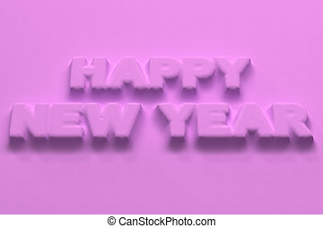 Violet Happy New Year words bas-relief