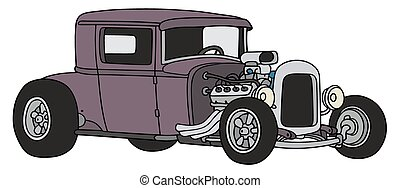 Violet hot rod - Hand drawing of a funny vintage violet...