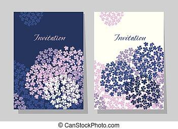 violet hydrangea round bouquet card template.