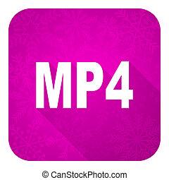 violet, icône, noël, mp4, plat, bouton