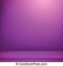 Violet illuminated room. Vector illustration. Advertising template