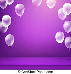 Violet illuminated room with balloons. Vector illustration. Advertising frame ready for a text