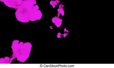 violet ink drop in water on a black background for effects. 3d render. voxel graphics. computer simulation 36