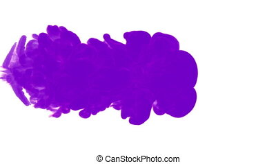violet ink drop in water on a white background. 3d render....
