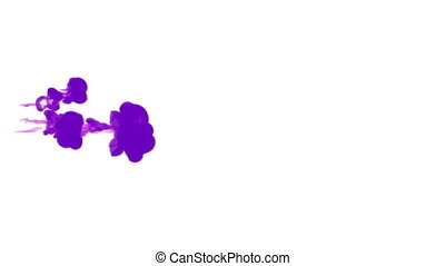 violet ink drop in water on a white background for effects. 3d render. voxel graphics. computer simulation 39