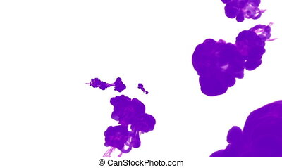 violet ink drop in water on a white background for effects. 3d render. voxel graphics. computer simulation