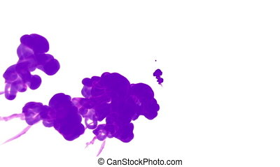 violet ink drop in water on a white background for effects....