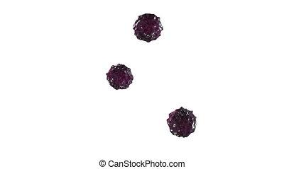 violet ink droplet falls on the white surface. 3d render...