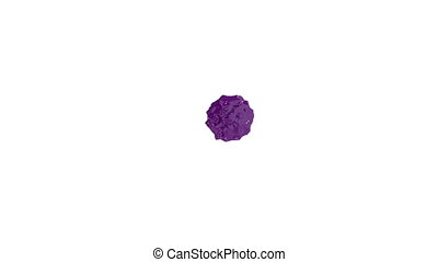 violet ink droplet falls on the white surface. 3d render liquid with very high detail and alpha mask for compositing. Ver 11
