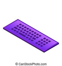 Violet keyboard icon, isometric style