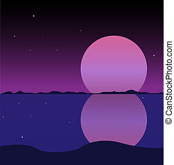 violet landscape with a large full moon