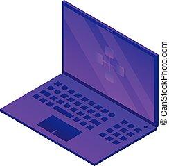 Violet laptop icon, isometric style