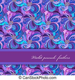 Violet, lilac and blue peacock feathers pattern. Horizontal strip design.