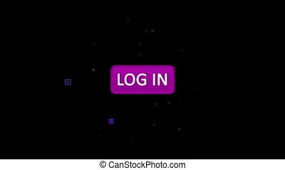 """""""Violet log in button touched with arrow"""" - """"3d rendering of..."""