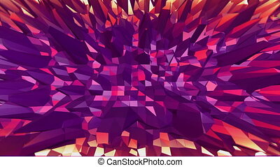 Violet low poly waving surface as fractal environment. Violet geometric vibrating environment or pulsating background in cartoon low poly popular modern stylish 3D design.