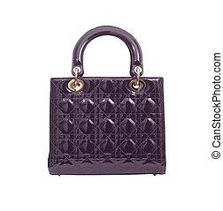 violet luxury female handbag isolated on white background