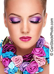 Violet make-up - Close-up portrait of young beautiful blond ...