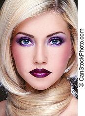 Violet makeup - Close-up portrait of young beautiful blond...