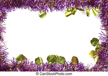 Violet mix gold color tassel of Christmas on white background.