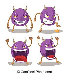 Violet Monster Isolate Cartoon Set Vector