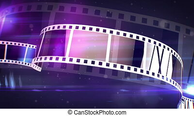 """An amazing 3d rendering of a violet and white cinematographic film tape. The film tape spins on a reel fast with the bright blue beams in the background. It looks like a film projecter work."""