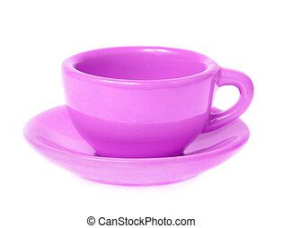 Violet mug with saucer