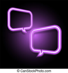 Violet neon speech bubble on dark background