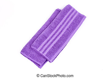 violet new clean towels on a white background