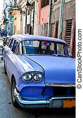 Violet oldtimer on the Havana street