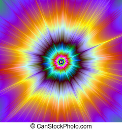 Violet Orange and Turquoise Explosion - A digital abstract ...