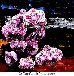 Violet orchid flowers on grunge stained colorful background