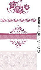 Violet ornamental elements and borders with stylized roses....