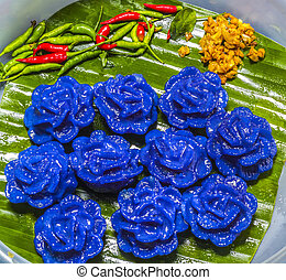 Violet panicle thai dessert food - Closeup Violet panicle of...