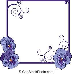 violet pansies - vector frame with flowers of violet pansies...