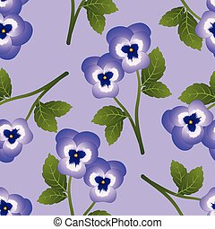 Violet Pansy Flower on Light Purple Background