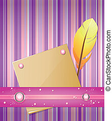 background with feather and paper.