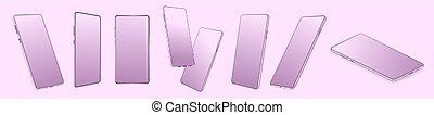 Violet pink smartphone mockup set