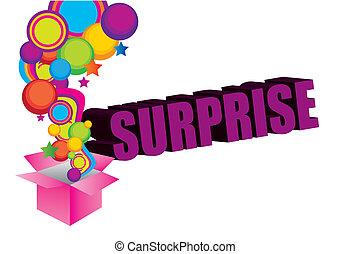 violet, pink, yellow, blue, green surprise box background. illustation