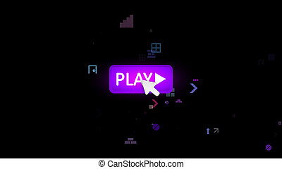 Violet play button pushed with arrow